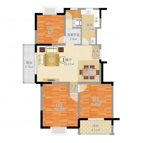 王子公馆3室1厅0卫1厨109.00㎡户型图