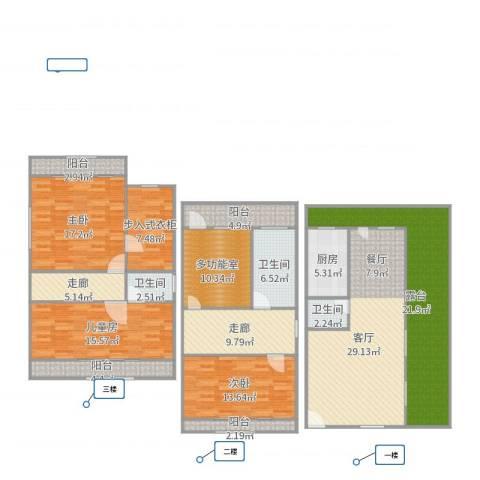 嘉年别墅3室1厅3卫1厨201.00㎡户型图