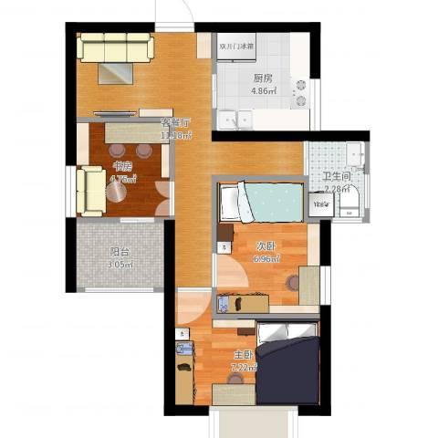 天赋庄园3室2厅1卫1厨50.00㎡户型图