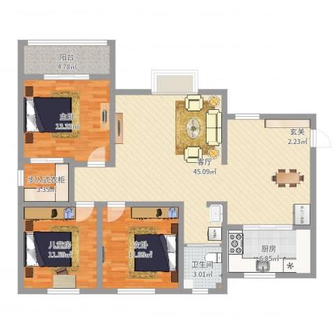 翡翠庄园3室1厅1卫1厨125.00㎡户型图