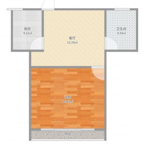 泗塘五村1室1厅1卫1厨51.00㎡户型图
