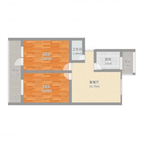 自考办家属院2室2厅1卫1厨66.00㎡户型图