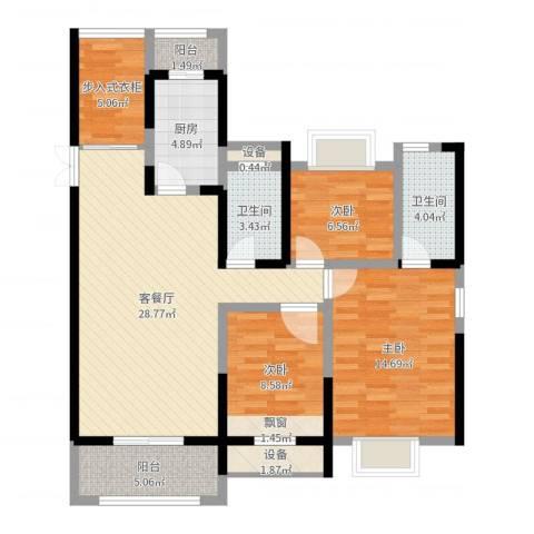振业泊墅3室2厅2卫1厨106.00㎡户型图