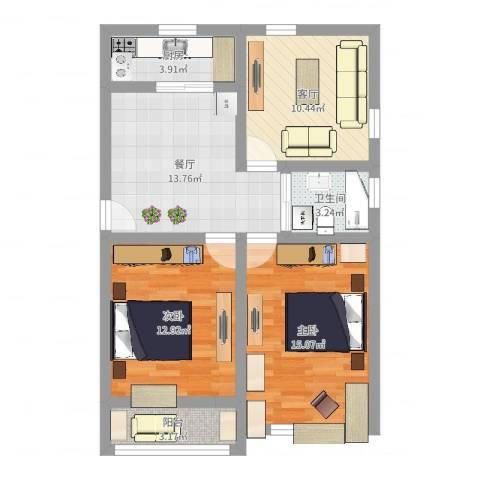 丰庄十四街坊2室2厅1卫1厨78.00㎡户型图