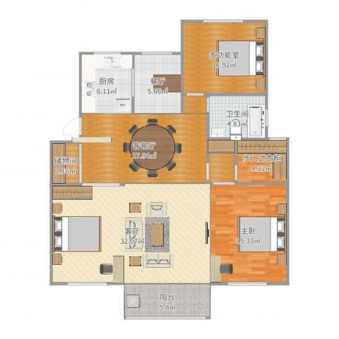 天新嘉苑1室4厅1卫1厨136.00㎡户型图