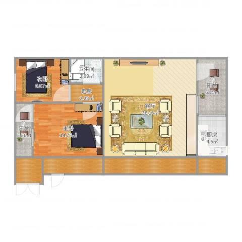 丽晶新村2室1厅1卫1厨116.00㎡户型图