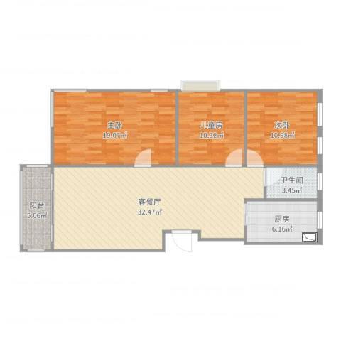 鸿基豪庭3室2厅1卫1厨109.00㎡户型图