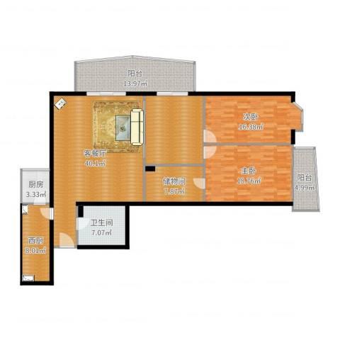景泰嘉园2室2厅1卫1厨169.00㎡户型图