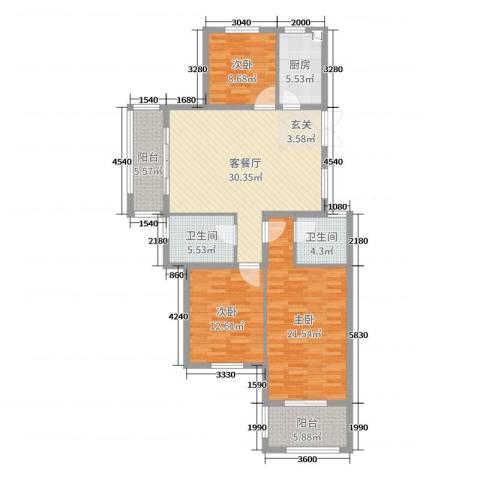 丰县翡翠城3室2厅2卫1厨126.00㎡户型图
