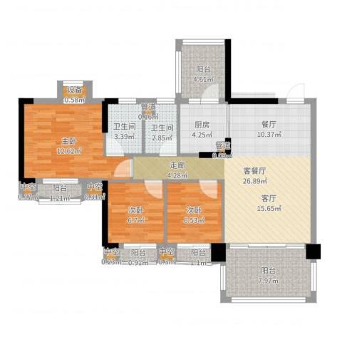 金海岸花园・聚湖3室2厅2卫1厨101.00㎡户型图