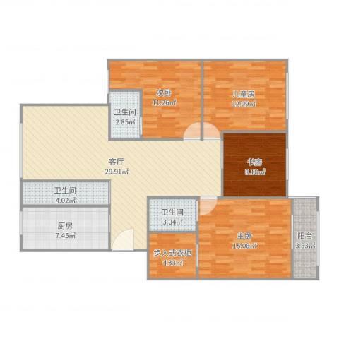 梅江北苑4室1厅3卫1厨128.00㎡户型图