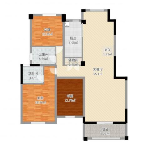 益兴名人湾3室2厅2卫1厨157.00㎡户型图