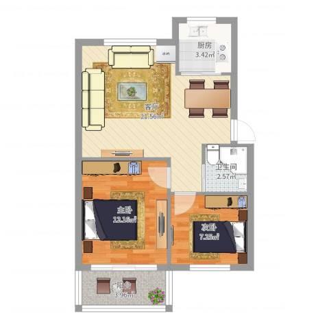 金地小区2室1厅1卫1厨64.00㎡户型图