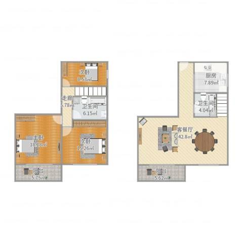 白鹭花园3室2厅2卫1厨150.00㎡户型图