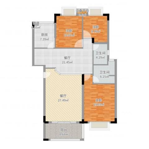 南国奥园洛杉矶区3室2厅2卫1厨147.00㎡户型图