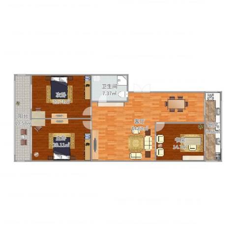 丽华甲第苑3室1厅1卫1厨158.00㎡户型图