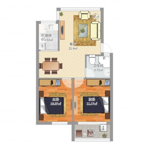 石碶东方苑2室1厅1卫1厨67.00㎡户型图