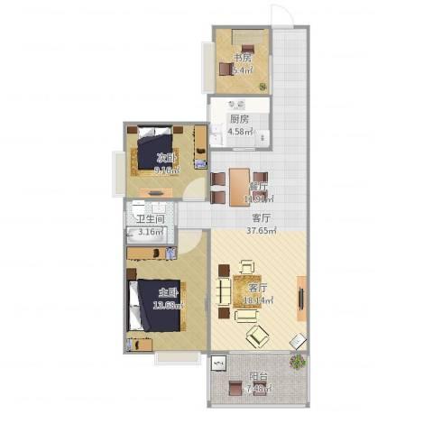 国际佳缘3室1厅1卫1厨101.00㎡户型图