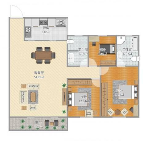 白鹭花园3室2厅2卫1厨158.00㎡户型图