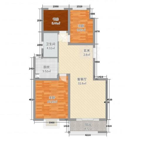 大胜广厦3室2厅1卫1厨98.00㎡户型图