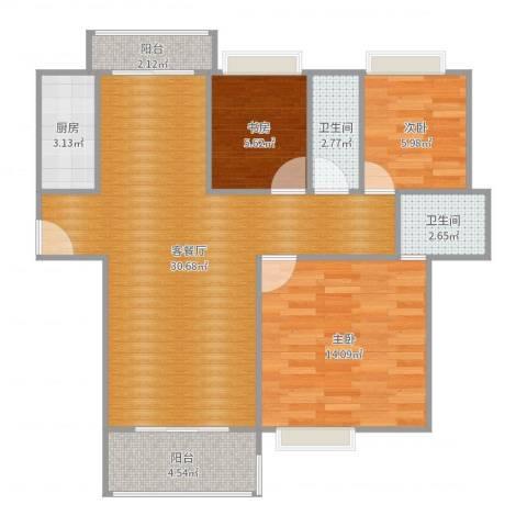 世纪星城3室2厅2卫1厨89.00㎡户型图