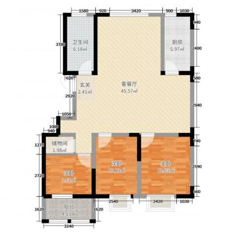 华都颐年园3室2厅1卫1厨117.00㎡户型图