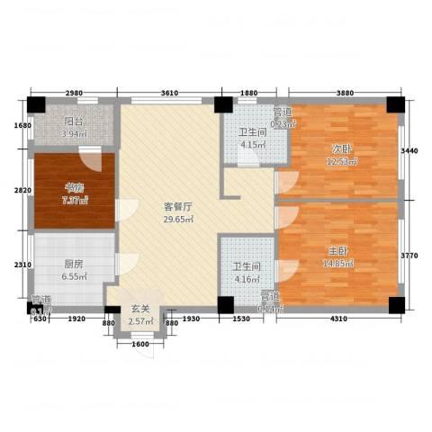 恒元悦庭3室2厅2卫1厨105.00㎡户型图