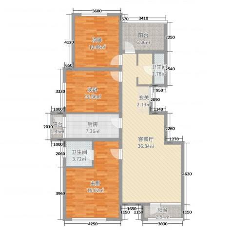 华贸公园郡3室2厅2卫1厨134.00㎡户型图