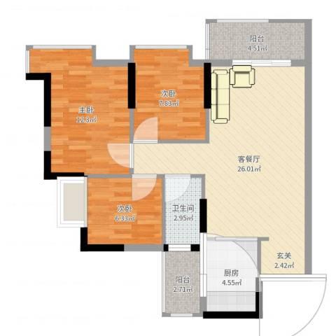 祥利上城IV・悦澜时光3室2厅1卫1厨84.00㎡户型图