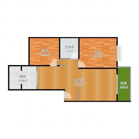 紫薇田园都市2室2厅1卫1厨99.00㎡户型图