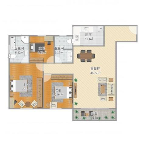 白鹭花园3室2厅2卫1厨144.00㎡户型图