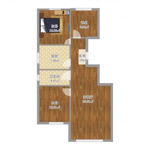 幸福小镇2室2厅1卫1厨88.00㎡户型图