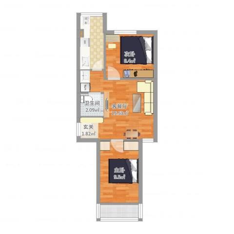 回龙观龙华园东区2室2厅1卫0厨53.00㎡户型图