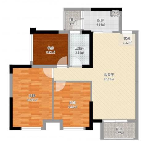 万象凯旋湾3室2厅1卫1厨87.00㎡户型图