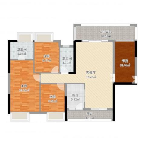 胜球阳光花园三期4室2厅2卫1厨136.00㎡户型图