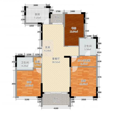 金地澜悦3室2厅2卫1厨140.00㎡户型图