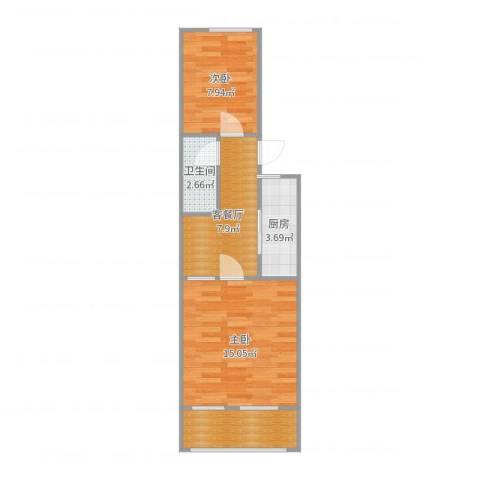 白广路二条2室2厅1卫1厨52.00㎡户型图