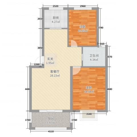 圣汐澜山2室2厅1卫1厨84.00㎡户型图