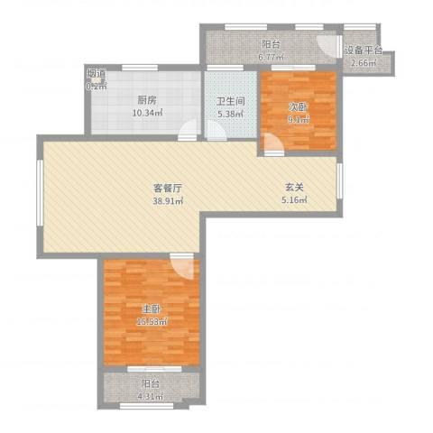 世嘉・正园2室2厅1卫1厨117.00㎡户型图