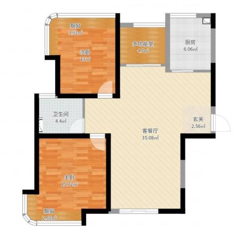 明发摩尔城2室2厅1卫1厨99.00㎡户型图