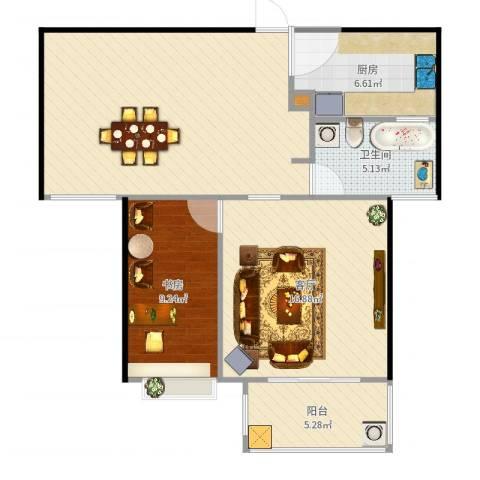 绿园爱舍1室1厅1卫1厨84.00㎡户型图