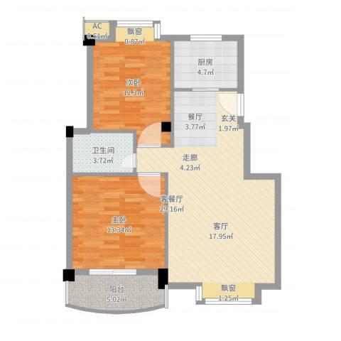 金运花园2室2厅1卫1厨85.00㎡户型图