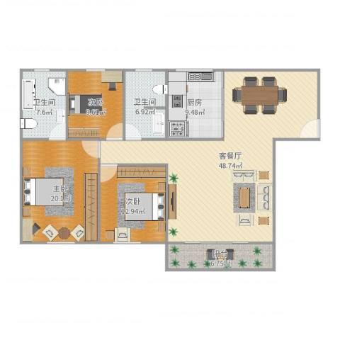 白鹭花园3室2厅2卫1厨153.00㎡户型图