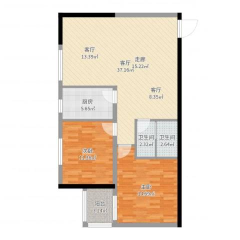 泓泰国际2室1厅2卫1厨96.00㎡户型图
