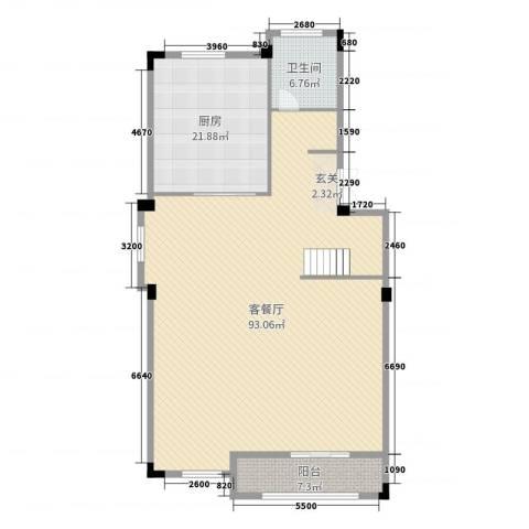 翠湖香堤2厅1卫1厨161.00㎡户型图