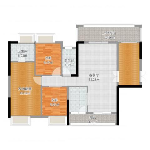 胜球阳光花园三期2室2厅2卫0厨136.00㎡户型图