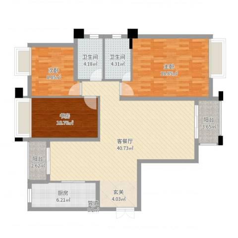 淮安万达广场3室2厅2卫1厨125.00㎡户型图