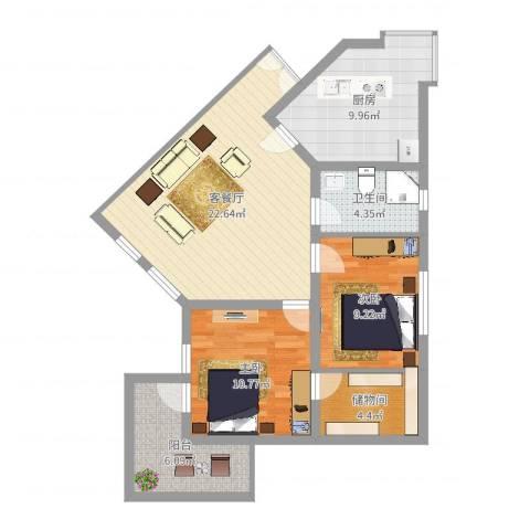 华佳花园2室2厅1卫1厨84.00㎡户型图