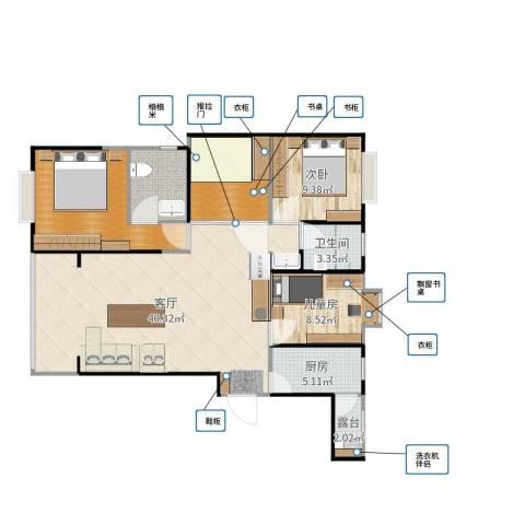 腾瑞幸福里2-102室1厅2卫2厨119.00㎡户型图