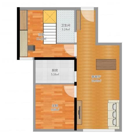龙泽尚品2室2厅1卫1厨67.00㎡户型图